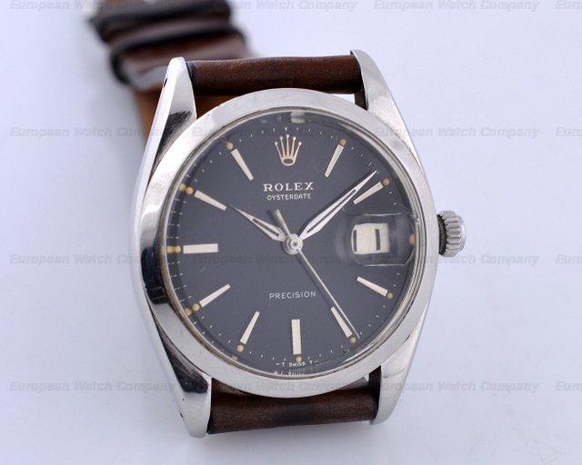 european watch company rolex oysterdate precision ss ss black dial circa 1950 34mm. Black Bedroom Furniture Sets. Home Design Ideas
