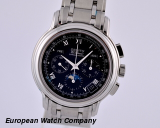 Zenith Chronomaster Moon Black SS German Calendar NEW