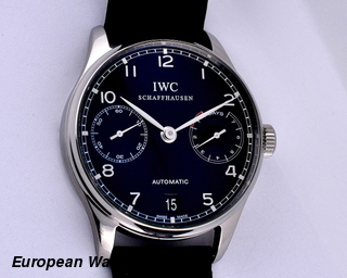 IWC Portuguese 7 Day Automatic SS Black Dial