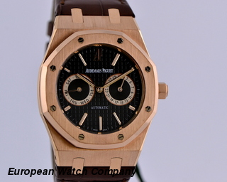 Audemars Piguet Royal Oak Day Date Black Dial 18K RG / Alligator