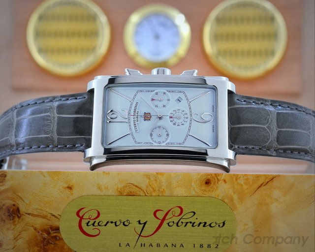 Cuervo y Sobrinos Prominente Cronografo Chronograph SS White Dial