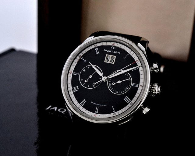 Jaquet Droz Grande Date Chronograph SS Black Dial