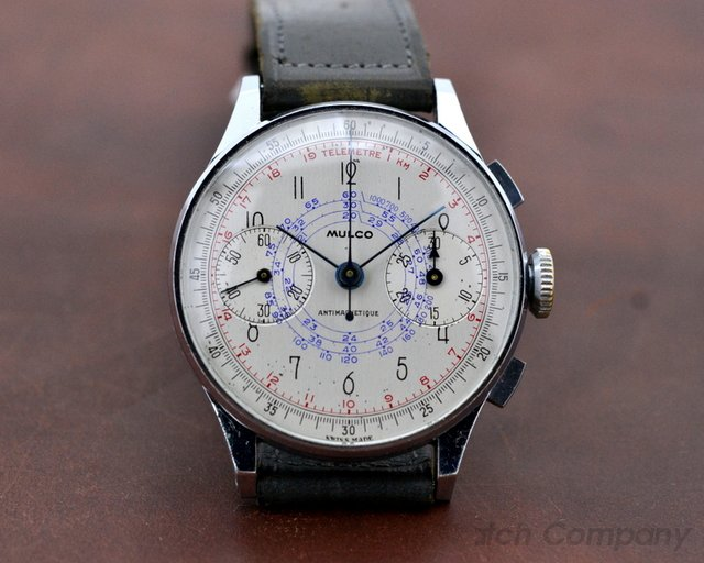 Mulco Vintage Antimagnetic Chronograph SS Silver Dial