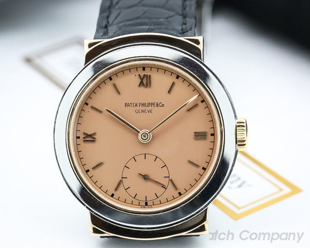 Patek Philippe Vintage 544 SS / Pink Gold Hooded Lugs with Rare Pink Dial