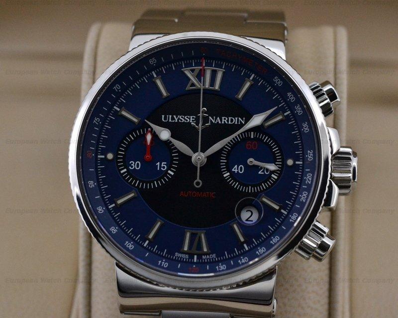 european company ulysse nardin marine chronograph blue ss