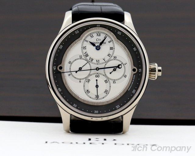 Jaquet Droz Monopoussoir Chronograph Rehaut 18K White Gold Slate Dial