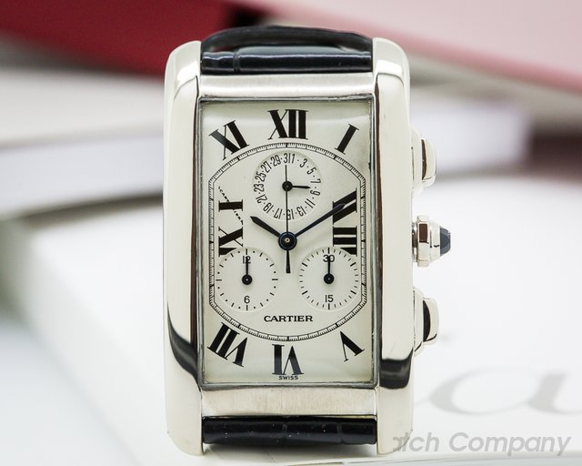 Cartier Tank Americaine Chronograph 18K White Gold