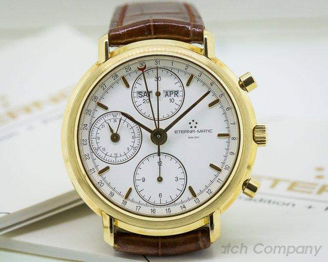Eterna  Triple Date Calendar Chronograph 18K Yellow Gold