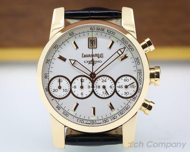 Eberhard Chrono 4 White Dial Rose Gold