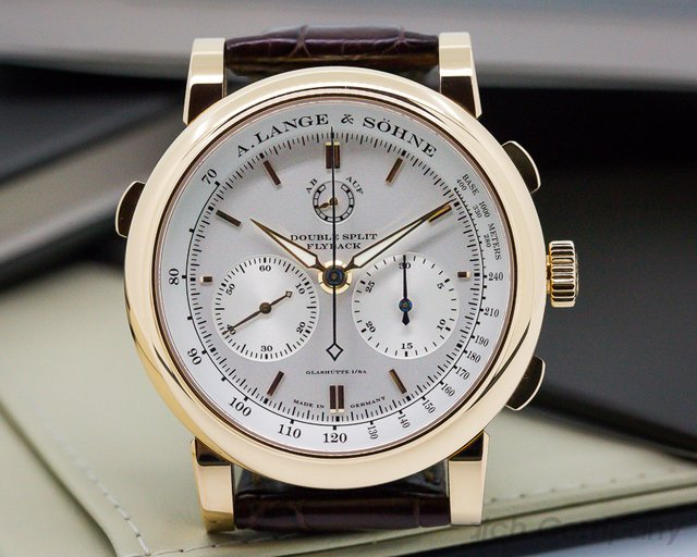 A. Lange and Sohne Double Split Silver Dial Rose Gold UNWORN