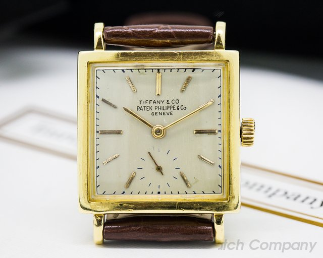 Patek Philippe Vintage Square Tiffany Signed 18K Yellow Gold