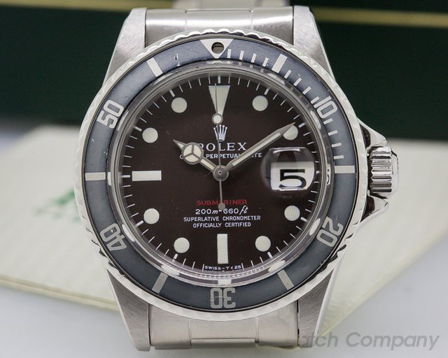 Rolex Vintage RED Submariner Tropical Meters First MKIII SS FULL SET