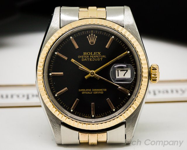 Rolex Vintage Datejust Black Dial SS / 18K Rose Gold