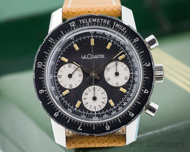Jaeger LeCoultre Vintage Shark Deep Sea Valjoux 72 Chronograph SS Box and Papers
