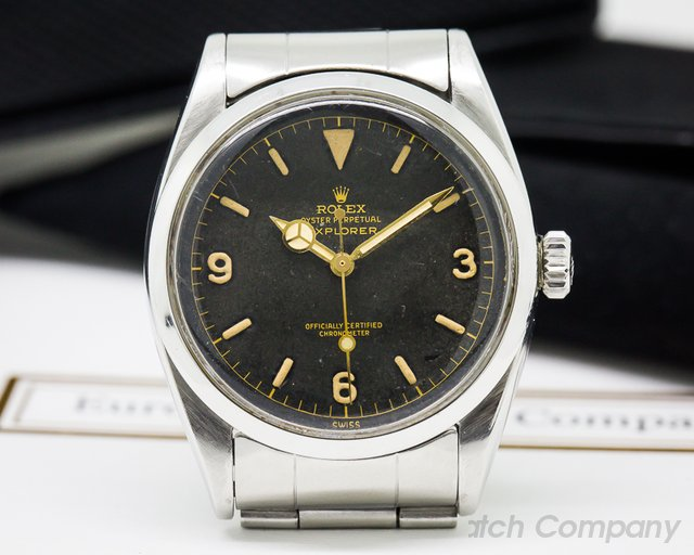 "Rolex Vintage Explorer I Gilt ""Chapter Ring"" Dial SS / SS"