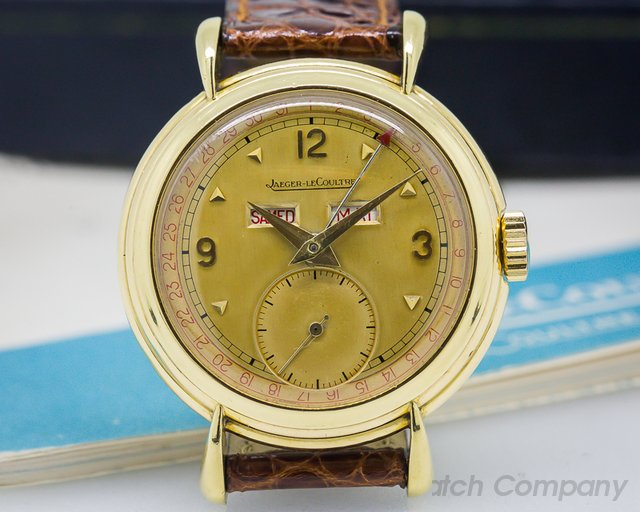 Jaeger LeCoultre Vintage Triple Calendar Manual Wind 18K YG Box and Papers
