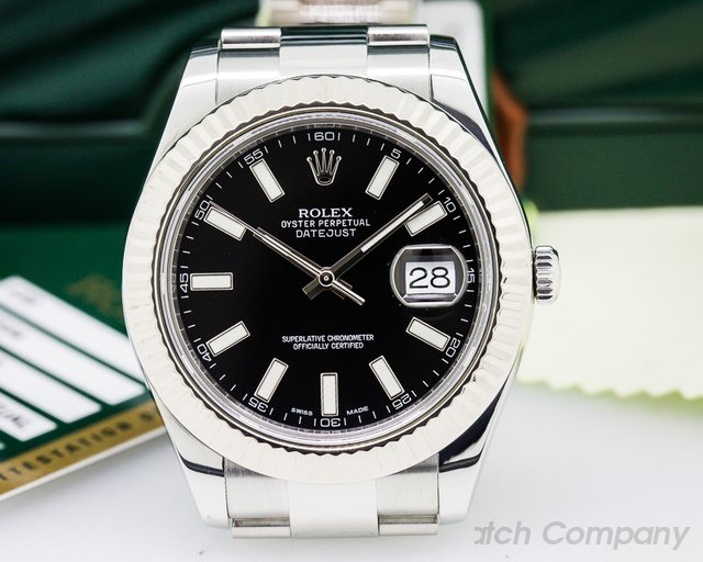 Rolex Datejust II White Stick Black Dial SS