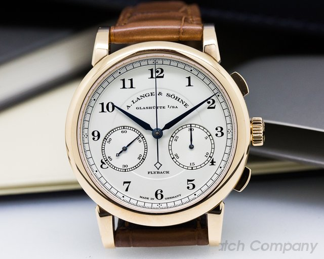 A. Lange and Sohne 1815 Chronograph 18K Rose Gold Silver Dial UNWORN