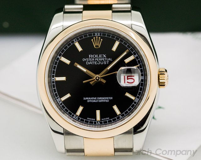 Rolex Datejust Black Dial Index Markers Oyster SS / Rose Gold