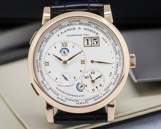 A. Lange and Sohne Lange 1 Time Zone 18K Rose Gold + Deployment Buckle