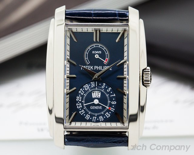 Patek Philippe Gondolo 8 Day Manual Wind Blue Dial 18K White Gold