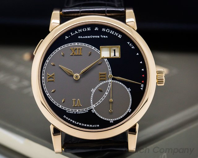 A. Lange and Sohne Grand Lange 1 18K Rose Gold Black Dial + Deployment
