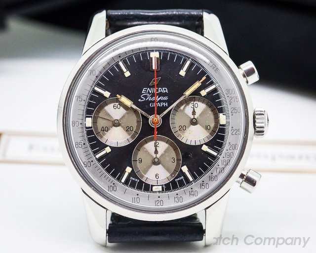 Enicar Vintage Sherpa Graph Mark II Black Dial SS