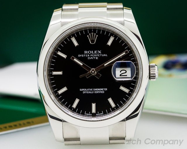 Rolex Oyster Perpetual Date Black Dial SS
