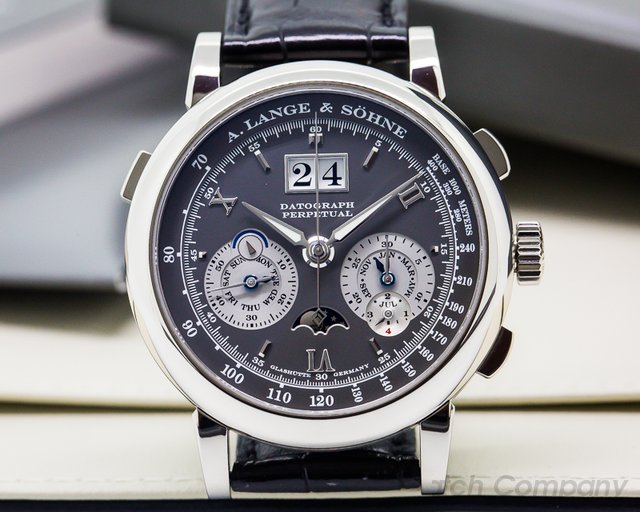 A. Lange and Sohne Datograph Perpetual Calendar Chronograph White Gold RARE