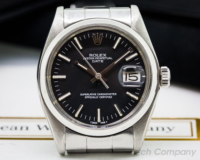 Rolex Oyster Perpetual Date SS Black Dial