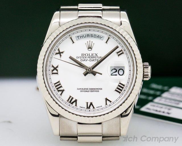 Rolex Day Date President White Roman 18K White Gold