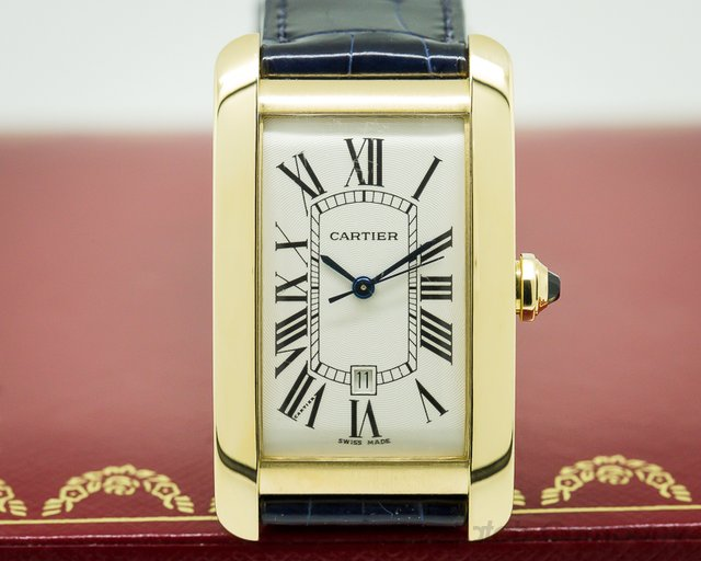 Cartier Tank Americaine Large Mens 18K Yellow Gold