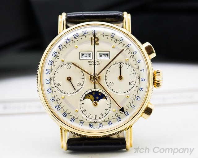 Record Geneve Triple Date Moonphase 18K Rose Gold
