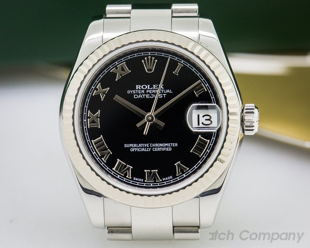 Rolex Ladies Midsize Rolex Datejust Black Roman Dial