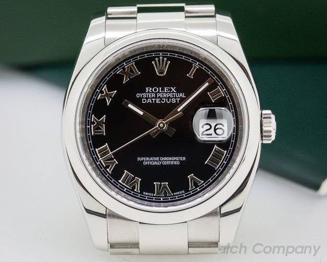 Rolex Datejust Black Roman Dial / Oyster Bracelet