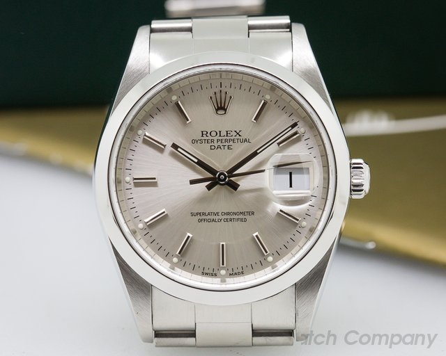 Rolex Oyster Perpetual Date Silver Dial SS ALMOST NOS