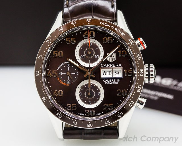 TAG Heuer Carrera Day Date Chronograph SS Brown Dial / Brown Alligator