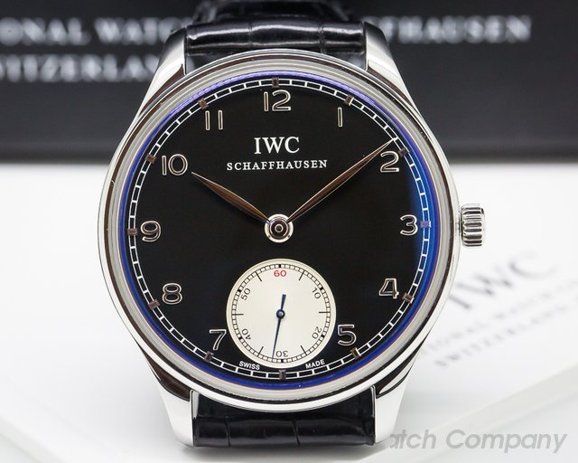 IWC Portuguese Hand Wound SS Black Dial