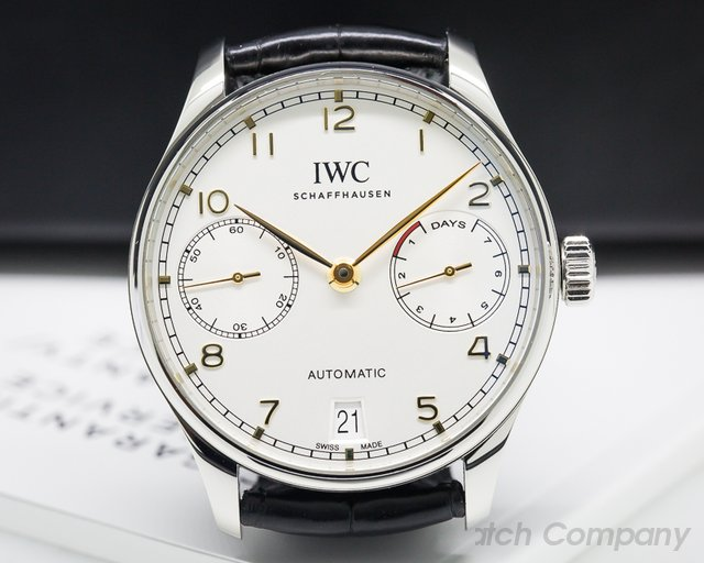 IWC Portuguese 7 Day Automatic SS Silver Dial Rose Numerals