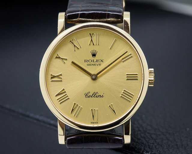 Rolex Cellini 18k Yellow Gold Champagne Dial Ladies 26MM