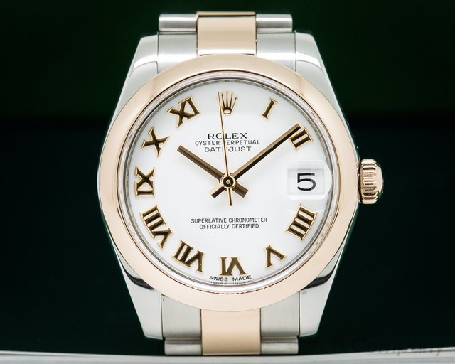 Rolex Ladies Midsize Rolex Datejust White Roman SS / 18k