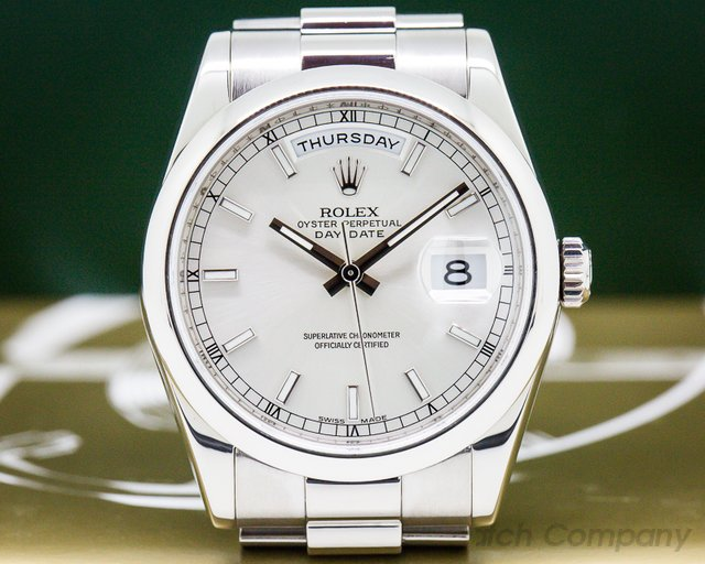 Rolex Day Date President White Gold Silver Dial