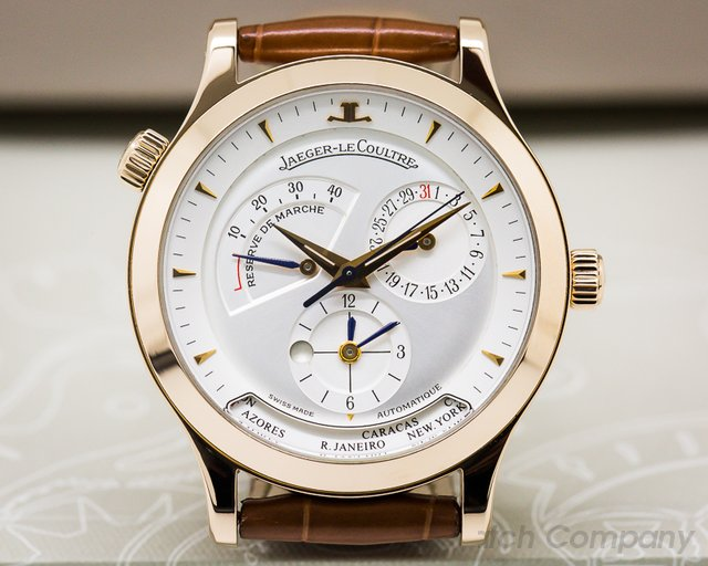 Jaeger LeCoultre Master Geographic 18K Rose Gold Half Hunter Case White Dial