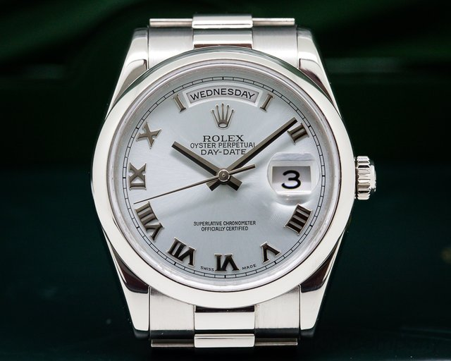 Rolex President Platinum Glacier Roman Dial