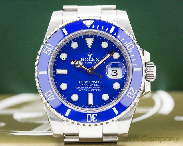 Rolex 116619 LB Submariner 18K White Gold Blue Dial