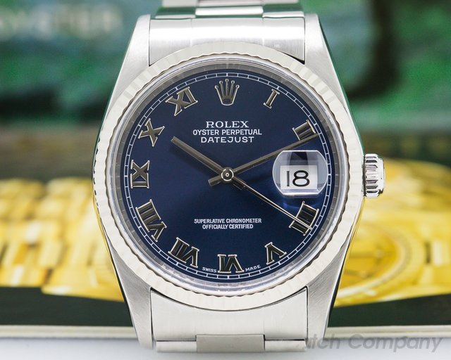 Rolex 16234 Datejust Blue Roman Dial SS