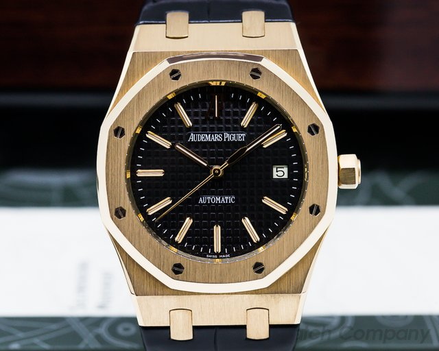 Audemars Piguet Royal Oak Jumbo Black Dial 18K Rose Gold