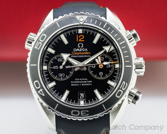Omega Planet Ocean Co-Axial Chronograph Black Dial SS / Rubber Strap