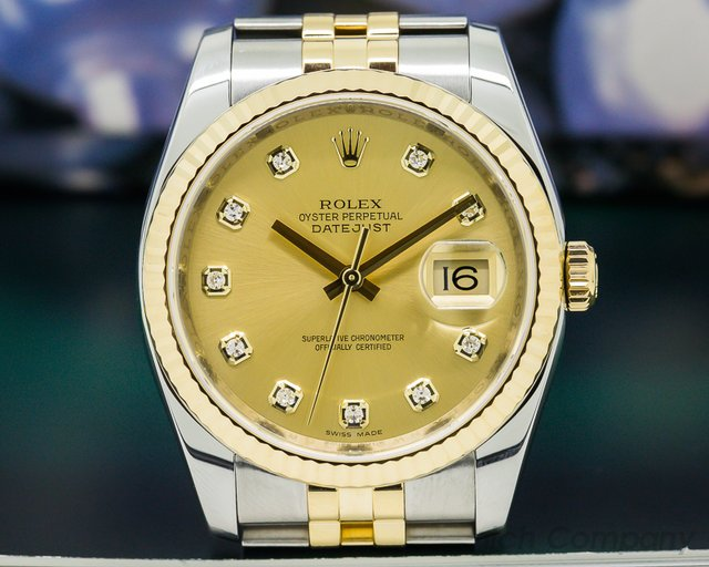 Rolex Datejust Champagne Diamond Dial 18K / SS