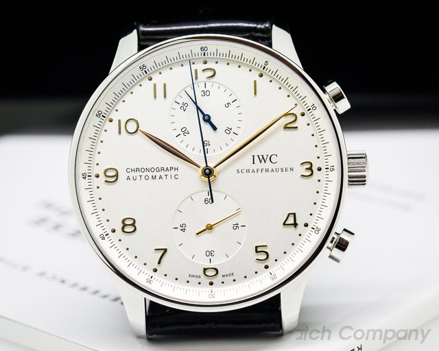 IWC IW371445 Portuguese Chronograph SS Silver Dial / Gold Numerals UNWORN
